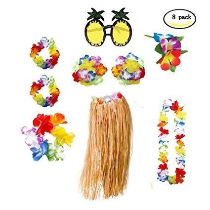 Hawaiian Kostüm Frauen Halskette Leis Garland Hawaii Blume Haarspange und Ananas Sonnenbrille Partydekorationen, 8 ()