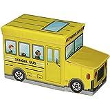 Tabouret enfant avec coffre de rangement BUS jaune