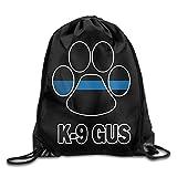 Dünn Blau Line K9Paw Kordelzug Rucksack Beam Mouth Sports Sackpack Rucksack Schultertaschen für Männer/Frauen