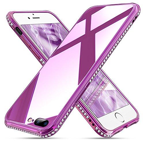 OCYCLONE iPhone 7 Plus Hülle Glas, Hardcase 9H Glas Kratzfest Handyhülle [Unterstützt Kabelloses Laden] Diamant Schutzhülle für Mädchen Frauen iPhone 8 Plus/7 Plus Hülle Lila