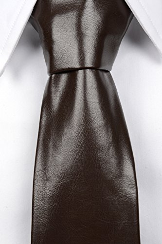 Notch Krawatte aus Leder Imitat für Herren - Einfarbig Braun