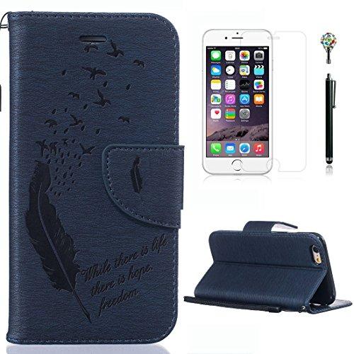 Yaking® Apple iPhone 6 Plus/6S Plus, (4 in 1) PU Portefeuille Étui Coque Stand Flip Housse Couvrir impression Case Cover pour Apple iPhone 6 Plus/6S Plus avec 1 X Protecteur d'écran + 1 X Stylet + 1 X P-7