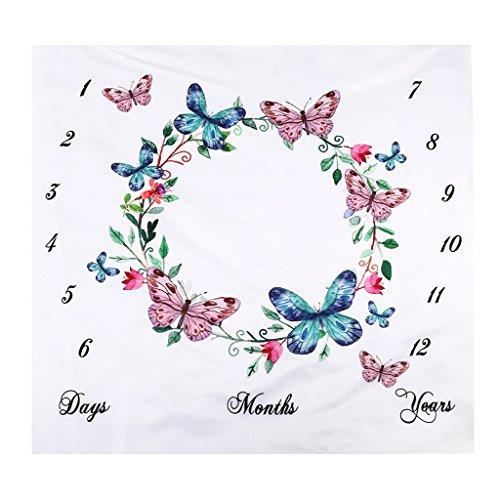 Homyl Neugeborenes Baby Boy Girl monatliche Meilenstein Decke Fotografie Hintergrund Foto Prop Baby Shower Geschenk 100cmx100cm - Schmetterling