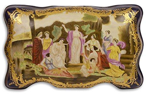 Casa Padrino Jugendstil Porzellan Schmuckschatulle Damen Mehrfarbig 33,9 x 21,3 x H. 14,2 cm - Deko...