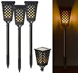 Lunartec LED Fackel: 3er-Set Solar-Akku-Gartenfackeln mit Flammen-Effekt, 51 LEDs, 0,5 Watt (LED Fackeln Solar)