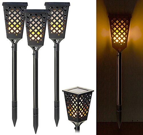 Lunartec LED Fackeln Solar: 3er-Set Solar-Akku-Gartenfackeln mit Flammen-Effekt, 51 LEDs, 0,5 Watt (Solar LED Fackel)