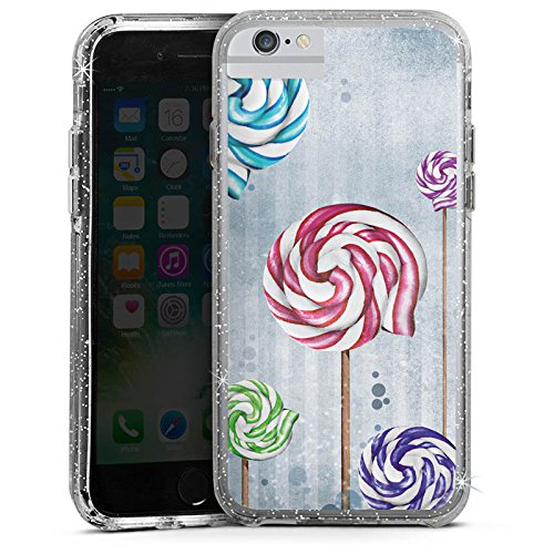 Apple iPhone 6 Bumper Hülle Bumper Case Glitzer Hülle Lollipop Lutscher Colourful Bumper Case Glitzer silber