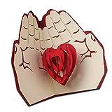 Biglietto d'auguri pop-up in 3D, tema cuore tra le mani, realizzato a mano, ottimo per inviti o come regalo d'amore per compleanni, anniversari, San Valentino