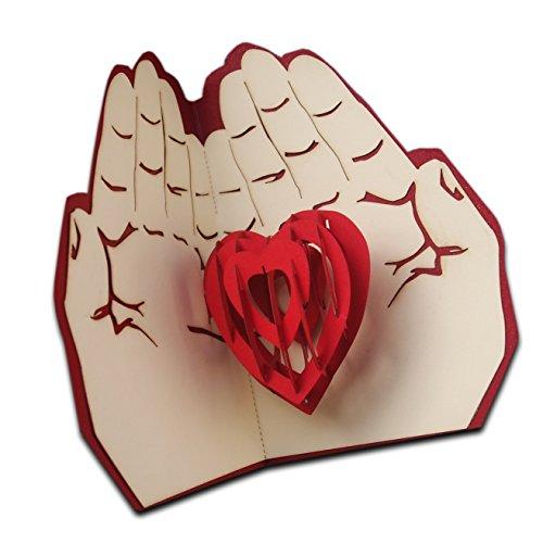 3d pop up biglietto d' auguri di carta regalo amore cuore in mani handmande regali di compleanno anniversario di san valentino invito love carta