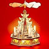 SIKORA P31 LED Holz Weihnachtspyramide mit elektrischem Antrieb und beleuchteten Kerzen und Sockel H: 32,5 cm, Farbe / Modell:Motiv Waldszene mit geschnitzten Rehen