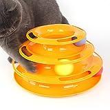 Petilleur Giocattoli per Gatti Giochi Interattivi Gatto con Palle in 3 Livelli (3 Livelli - Arancione)