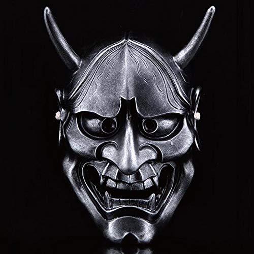 (LIULINAN Halloween-Maske Horror Erwachsene Japanische Samurai-Maske Gruselige Weiße Geister Kopf-Dekor,Silver)