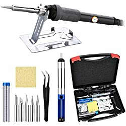 Soldering Iron Kit - Soldering Iron 60W, Stand, Wire, Desoldering pump, 5pcs Soldering Tips, and Anti-static Tweezers