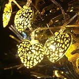 GLADLE Romantic 10LED Silver Metal Heart Fairy String Light Decoration Bild 4