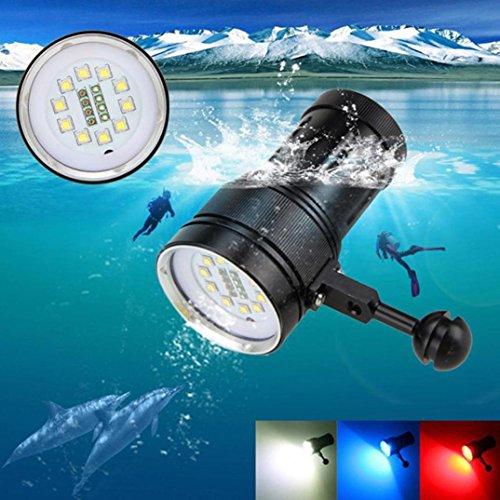 Militär Ball Cap (Unterwasser-Tauchen Fotografie Video Scuba Taschenlampe, Siswong 12000LM /18 LED /3 Modelle /100m Wasserdicht /1.5m Schlagfest /Zoombar /Wiederaufladbar Professionel Taktik Blitzlicht Laternen Stirnlampe (Drei Löcher Ball Klemme Halterung Stand Montieren))