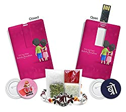 100yellow Shri Rakhi & Cerdit Card 16GB Pendrive Combo Rakhi Gift for Sister & Brother on RakshaBandhan
