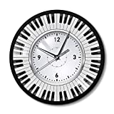 LLLYZZ Do Re Mi Piano Reloj de Pared de música Teclas de Piano temáticas Marco de Metal Reloj de Pared Músico Pianista Maestro Signo Estudio de Pared Reloj de Pared, 30 cm