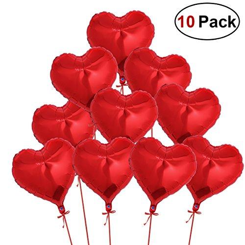 NUOLUX Globos del helio de la hoja del corazón rojo de NUOLUX 10 con las cuerdas para la decoración del compromiso de la boda del día de tarjetas del día de San Valentín