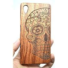 Holzsammlung® Sony Xperia Z5 Premium Funda de Madera - Cráneo de palo de rosa - Natural Hecha a mano de Bambú / Madera Carcasa Case Cover