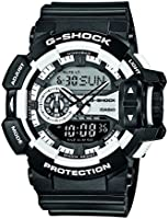 G-Shock GA-400-1AER Men's Quartz Watch with White Dial - Digital Display and Black Resin Strap