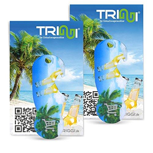 TRIGGI® der Einkaufswagenlöser - Einkaufswagenchip zum Abziehen, 2er Set Beach-Motiv mit Flaschenöffner-Funktion