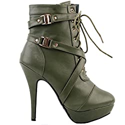 Show Story Army Green Schnalle High Heel Pumps Plateau Stiefel, LF30470GR36, 36EU, Army Green