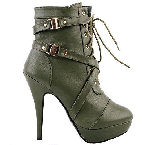 Show Story Army Green Schnalle High Heel Pumps Plateau Stiefel, LF30470GR38, 38EU, Army Green (Heels Cute)
