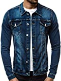 OZONEE Mix Herren Jeansjacke Übergangsjacke Jacke Denim Sweats Sweatjacke Frühlingsjacke Jeans Jacke Modern Sportswear Casual Slim-Fit Vintage 777/325K BLAU M