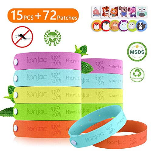 Konjac braccialetto antizanzare, set di bracciale repellente per zanzare, 15 braccialetti antizanzare + 72 adesivi antizanzare con oli essenziali naturali, adatto per i bambini e gli adulti