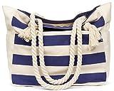 Malirona Grande borsa da viaggio in tela di canapa da spiaggia - Borsa perfetta per le vacanze (Blu)