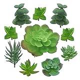 Sukkulenten Künstlich, PietyDeko 10 Stück Sukkulenten Plastik Kaktus Deko Set für Party, Hochzeiten, Zuhause und Büro Deko Grün