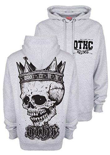 "'OLDTIME Hardcore Clothing ""Kings Kull felpa con cappuccio Hoodie hEATHERGREY grigio L"