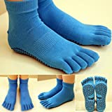 Bluelover 1 Paire Anti Skid Slip 5 Doigts Toe Full Grip Yoga Chaussettes Pilates Gym Exercice Fitness Massage-Bleu