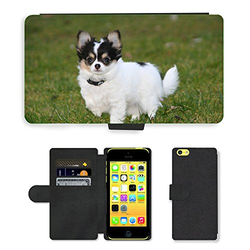 Just Mobile pour Hot Style Téléphone portable étui portefeuille en cuir PU avec fente pour carte//m00138489Animaux Chiens Chiots Chihuahua//Apple iPhone 5C