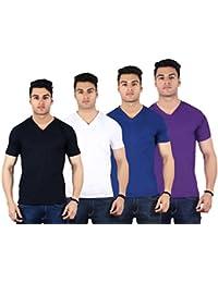 Diaz Soft Cotton V-Neck T Shirt For Men Pack Of 4