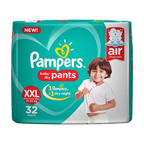 Pampers New XX-Large Size Diapers Pants, White, 32 Count