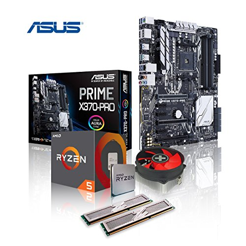 Memory PC Aufrüst-Kit Bundle AMD Ryzen 5 3600 6X 3.6 GHz, 16 GB DDR4, ASUS Prime X370-PRO mit Aura Sync/Bleuchtung, komplett fertig montiert inkl. Bios Update und getestet -