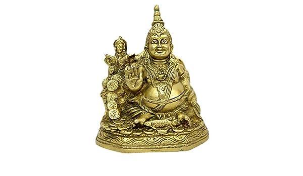 Astadhatu (8 Metals) Made Lakshmi Kuber Idol/Maha Lakshmi and Kuber Brass  Idol/Laxmi Kuber Brass Idol for Good Luck, Success, and Prosperity -