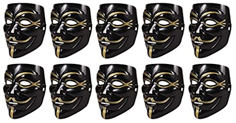 10 Stück Set V wie Vendetta Maske | Guy Fawkes Halloween Anonymous Maske Schwarz (Anonymous Hacker Kostüm)