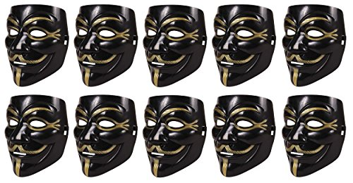 Hacker Kostüm Anonyme (10 Stück Set V wie Vendetta Maske | Guy Fawkes Halloween Anonymous Maske)