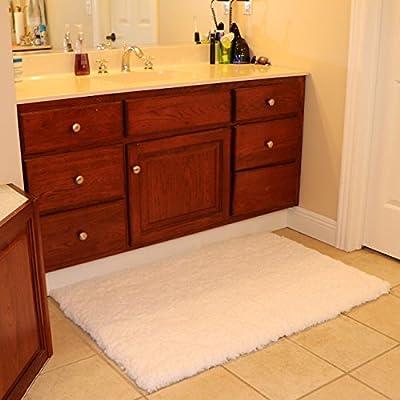 Bath Mat Bathroom Rug Non-slip Soft Microfiber Shower Rugs White for Bathroom Bedroom Living Room - cheap UK light store.