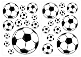 Sticker mural chambre d'enfant Sticker mural Kit Ballons de football coller...