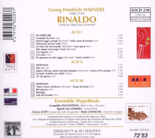 Rinaldo (Ensemble Hypothesis) [Import anglais]