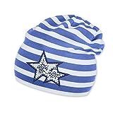Sterntaler Kinder Jersey Slouch-Beanie gestreift mit Sternen UV-Schutz 50+, Größe:47, Farbe:Enzian (377)