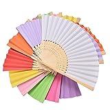 MMBOX 9 Paquetes de abanicos Plegables bambú para decoración de Boda y hogar