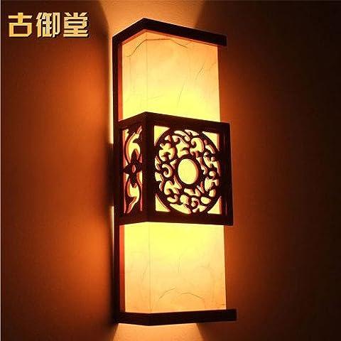 XiangMing Cinese antica pergamena luci da parete in legno classico studio letto camera da letto lampade corridoio di transito per soggiorno lampada da parete ,1