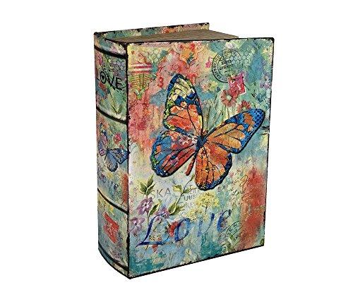 zeitzone Hohles Buch mit Geheimfach Schmetterling Buchversteck Nostalgie 27cm