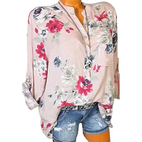 Sonnena Damen Sommer Langarm V-Ausschnitt Taste T-Shirt Pullover Frauen Große Größe Chiffon Hemd Bluse Mode Blumen Drucken Lose Fit Oberteile Tops (3XL, Sexy Rosa)