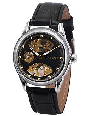 AMPM24 PMW477 Reloj Mecánico de Cuero, Dial Negro