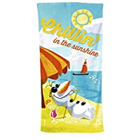 Disney Frozen Olaf Chillin In The Sunshine Velour Towel, Blue/Orange